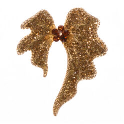 Gold Bow Brooch with Stone