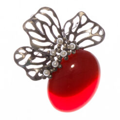 Silver Brooch with Red Stone