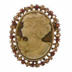 Gold Brooch with Female Etching