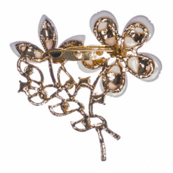 Back View of Flower Shape Brooch with Stone