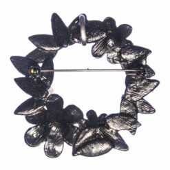 Back View of Black Wreath Brooch with Pearl