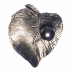 Silver Leaf Brooch with Black Pearl