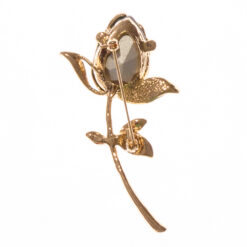 Back View of Rose Brooch with Emerald