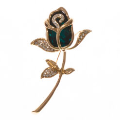 Gold Rose Shape of Brooch with Emerald