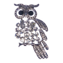 Silver Owl Shape Brooch with Stone