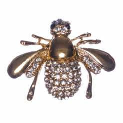 Bee Shape of Gold Brooch with Stone