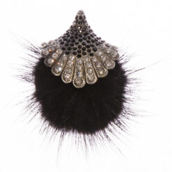 Black Clara Feather Brooch with Stone