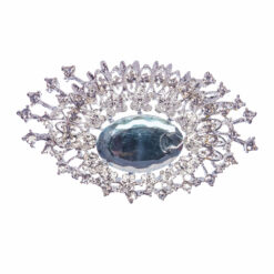 Silver Cleo Bling Brooch with Sapphire Stone