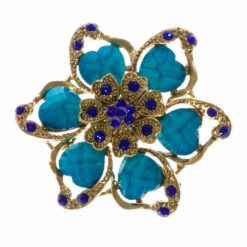 Flower Shape of Gold Brooch with Blue Stone
