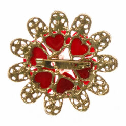 Back View of Gold Brooch with Pink Stone