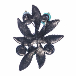 Back View of Black Leaf Shape Brooch with Stone