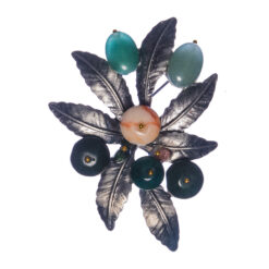 Black Leaf Shape Brooch with Stone