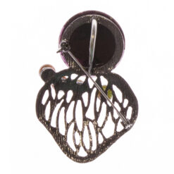 Back View of Black Brooch with Stone