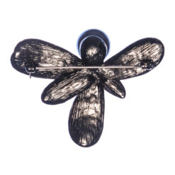 Back View of Black Leaf Brooch with Pearl