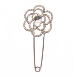 Silver Flower Shape Brooch with Stone