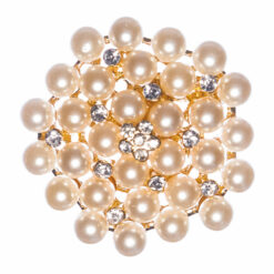 Round Gold Brooch with Pearl