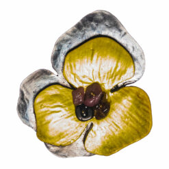 Ebony Yellow Flower Shape of Brooch with Stone