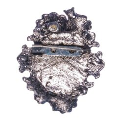Back View of Silver Brooch with Etching Female