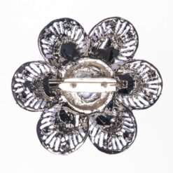 Back View of Ebony Silver Brooch with Stone