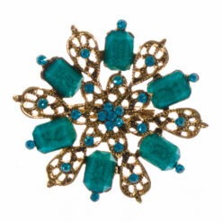 Gold Brooch with Green Stone