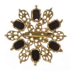Back View of Gold Brooch with Purple Stone