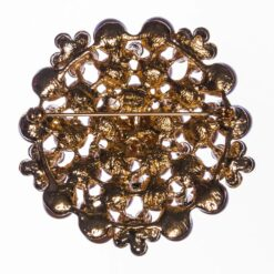 Snowflake Shape of Gold Brooch with Pearl