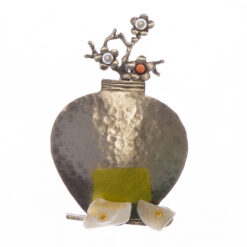 Flower Pot of Silver Brooch with Stone