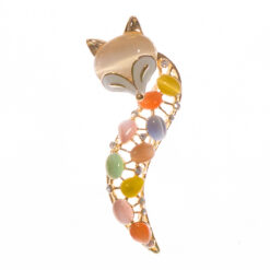 Foxy Lady Shape of Gold Brooch with Colorful Stone