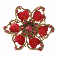 Flower Shape of Gold Brooch with Pink Stone