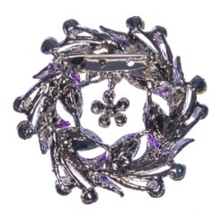 Back View of Purple Wreath Shape of Silver Brooch with Stone
