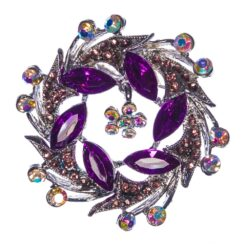 Purple Wreath Shape of Silver Brooch with Stone