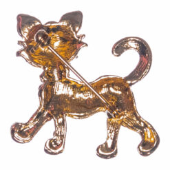 Back View of Golden Kitty Brooch with Stone