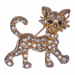 Golden Kitty Brooch with Stone