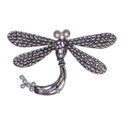 Silver Brooch Dragonfly Shape with Stone
