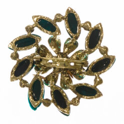 Back View of Gold Brooch with Green Stone