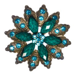 Teal Flower Shape of Brooch with Blue Stone