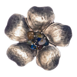 Flower Shape of Silver Brooch with Colorful Stone