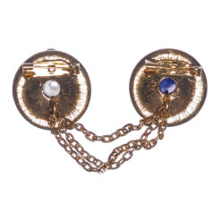 Back View of Round Brooch with Chain