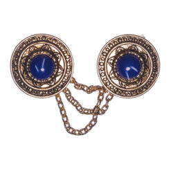 Round Brooch with Stone and Chain