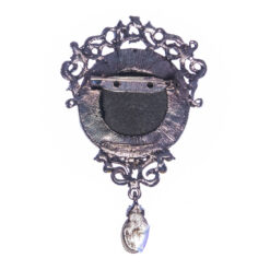 Back View of Silver Brooch with Stone