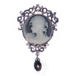 Silver Brooch with Stone and Etching Female