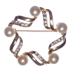 Star Shape of Golden Brooch with Pearl
