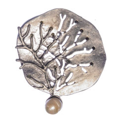 Tree Shape of Silver Brooch with Pearl