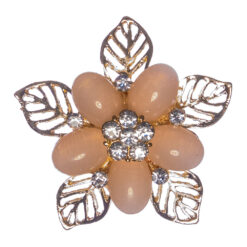 Flower Shape of Gold Brooch with Stone