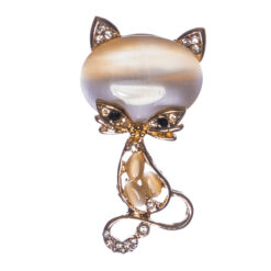 Cat Shape Brooch with Stone