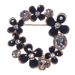 Black Flower Brooch with Stone