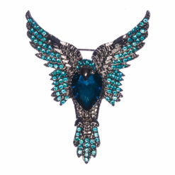Eagle Shape of Brooch with Blue Sapphire