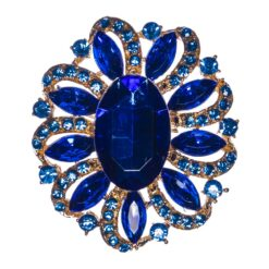 Gold Brooch with Blue Sapphire