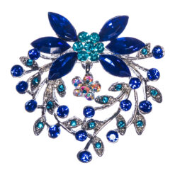 Silver Brooch with Blue Sapphire