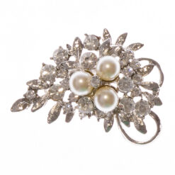 Silver Flower Bouquet Brooch with Pearl